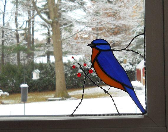 Blue bird stained glass window corner decor / bottom right                                                                                                                                                                                 More