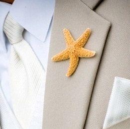 Best Boutonnier ever!!!! Beach Wedding Sugar Starfish Boutonnieres by SeashellCollection. $6.00, via Etsy.