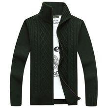 suéter caliente de espesor de terciopelo de la cachemira invierno chaquetas de punto cremallera superior del soporte del Collar de hombre ropa Casual