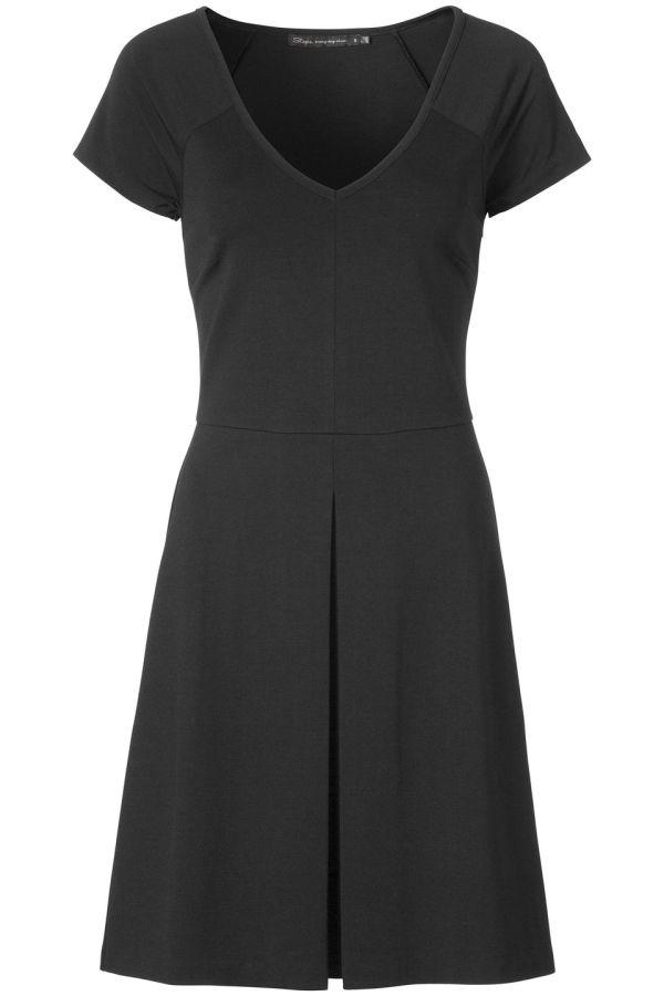 Lichaamsvolgende jurk met licht uitlopende rok Zwart