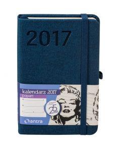 Kalendarz 2017 kieszonkowy z gumką A6 Popart granatowy