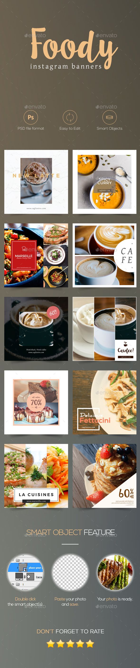 Foody - Cafe and Restaurant Instagram Banners #ads