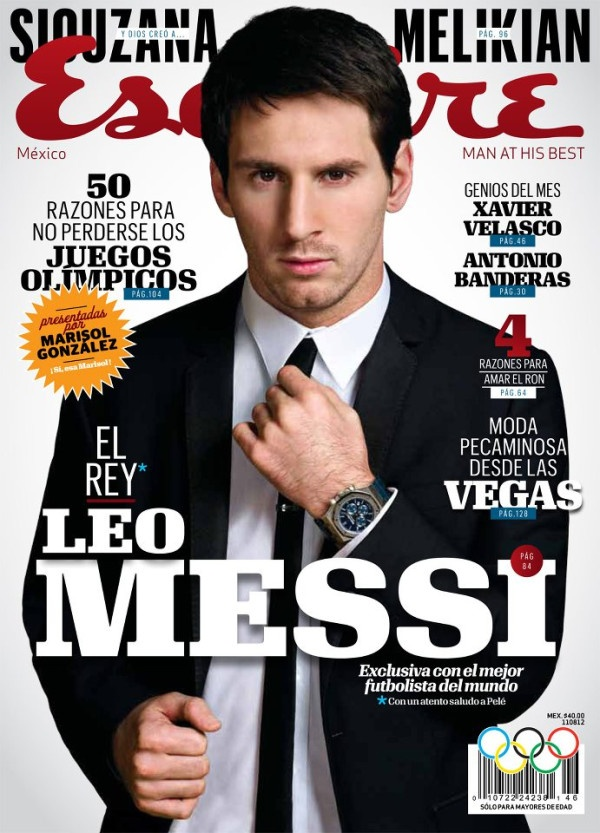 Leo Messi, the king. The soccer player on the cover of Esquire.
