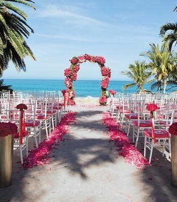 Beach Wedding With Pink Decor