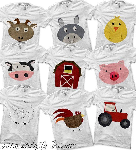 Farm Bundle Pack  Iron on Farm Shirt by ScrapendipityDesigns, $1.50 an animal.  COW please!