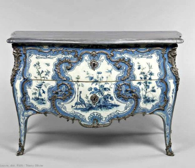 1742 Commode by Matthieu Criaerd, Paris; Oak, fruit wood; silver bronze, turquoise  marble. 'Louis XV acquired the Château de Choisy in 1739. The furniture in the Blue Room (commissioned from the marchand mercier Hébert) was designed to match some blue silk woven by the king's mistress, Madame de Mailly, and to suit her taste for oriental art.'