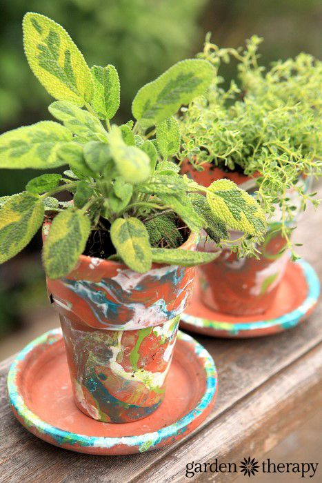 verigated sage in a DIY nail polish marbled terracotta garden pot - Garden Therapy