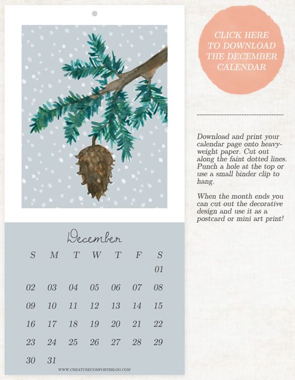 Love this!  Must Make this!  December 2012 Calendar Download with a Mini DIY - Home - Creature Comforts - daily inspiration, style, diy projects + freebies