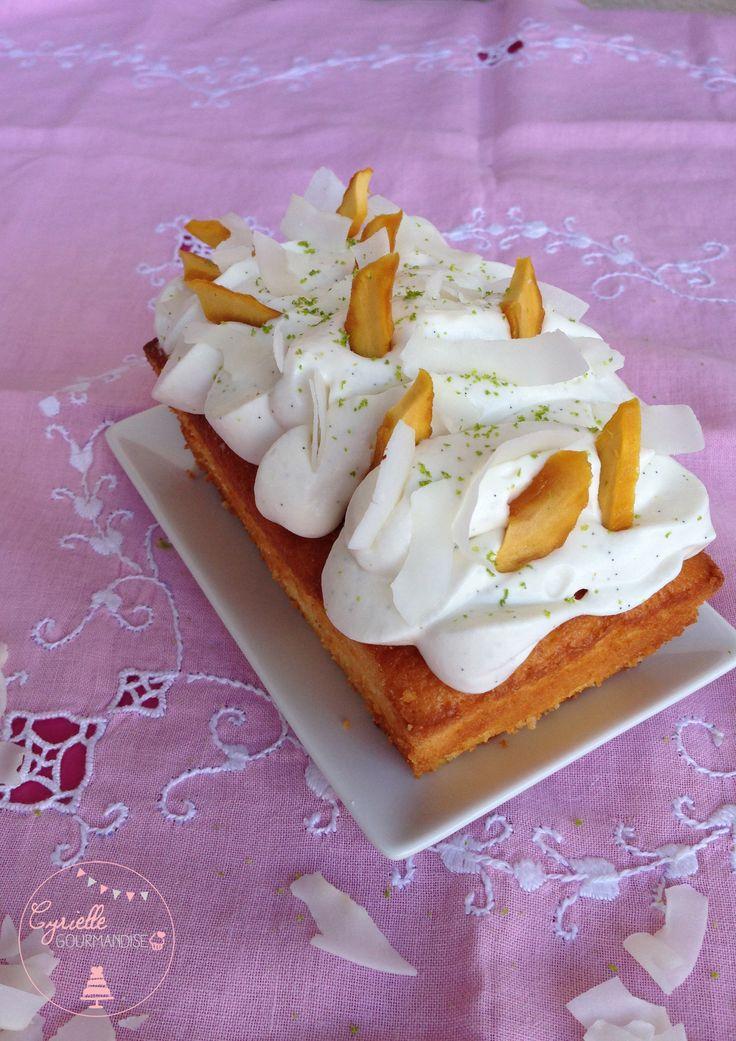 Cake citron vert, tartare de mangue et chantilly Coco – Défi Créole | Cyrielle Gourmandise