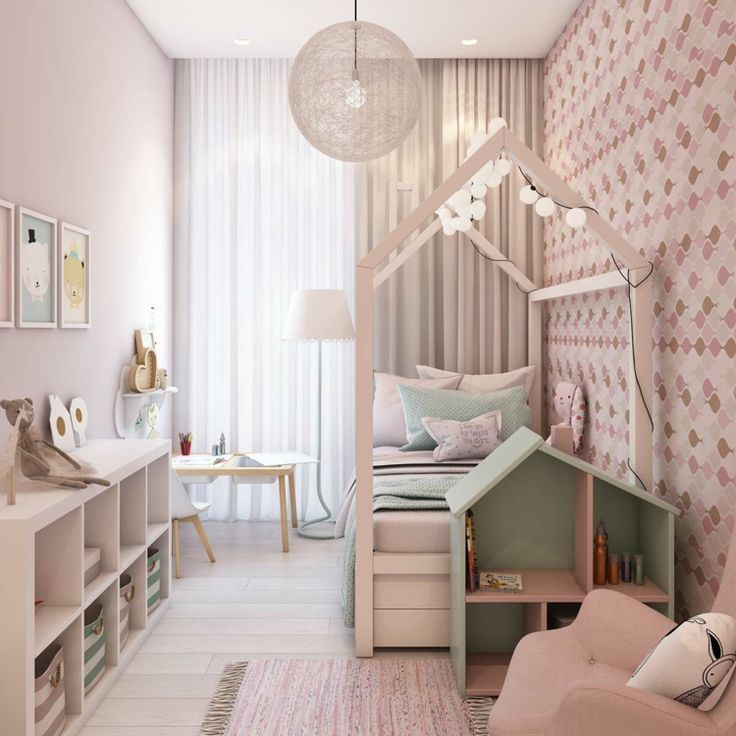 Narrow nursery for girls with attractive lighting