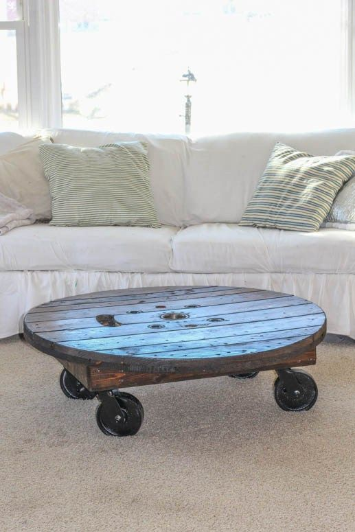 Make this Spool Coffee Table for your industrial farmhouse look! Full tutorial.