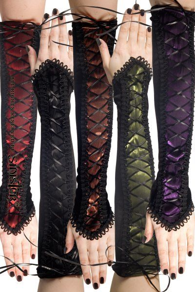 Silk Gloves with Black Ribbon Lacing | Ladies Gothic