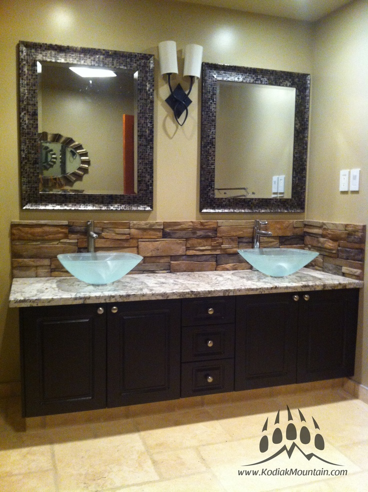 Bathroom back splash kodiak mountain stone frontier for Granite and tile bathroom ideas