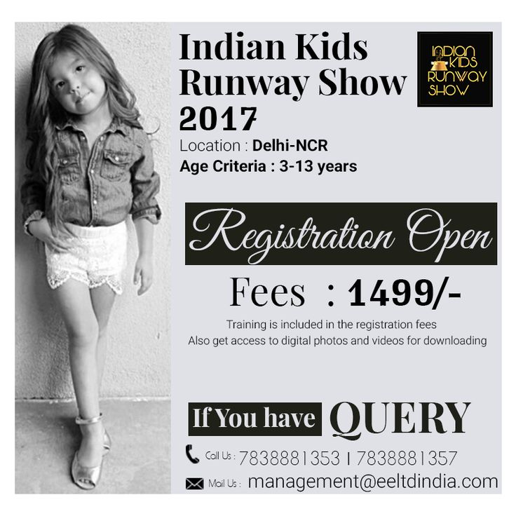 The #event #celebrates #children, #fashion and the self-confidence of #kids Let your #kids #dream big in the #upcoming #fashion #show Call Now : 7838881357,7838881353  Mail Us : management@eeltdindia.com website : https://lnkd.in/fXRzPvA https://lnkd.in/fPV6cuE #IKRS #fashionshow #kidsfashionshow #kidsdesigning #kidsevent #fashionevent #kidsclothes #kidsshopping #kidsmodel #kidsrunwaywalk #kidswalk #spectacular #effectsenterainment #momskids #mykidmyevent #event #kidsshow #kids #show…