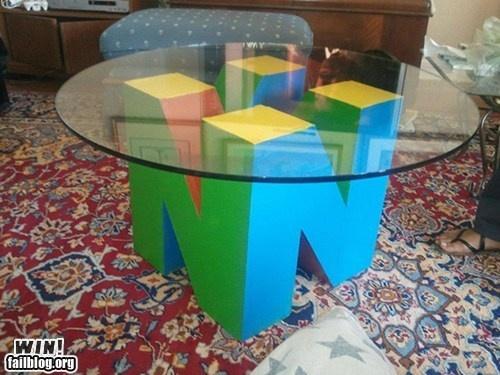 epic win photos - Coffee Table WIN: Coffee Tables, Games Rooms, Videos Games, Gameroom, Nintendo64, Nintendo Tables, Memorial Tables, Nintendo 64, Men Caves