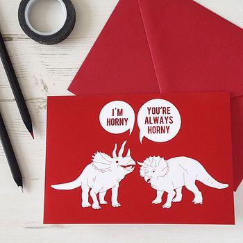Horny Dinosaurs Valentines Card