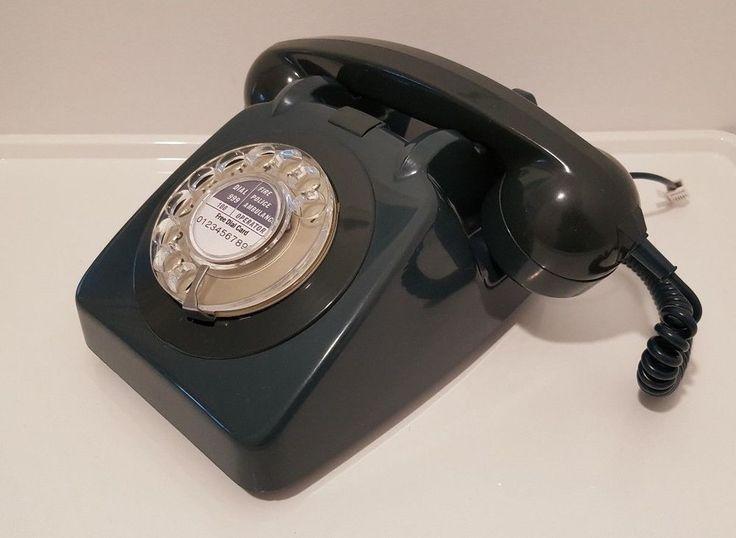 Original Vintage Retro 1960's GPO 706 Rotary Dial Teal Telephone *Restored*