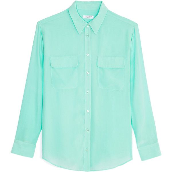 Equipment Signature Silk Blouse (1 740 UAH) ❤ liked on Polyvore featuring tops, blouses, shirts, blusas, ice green, button down collar shirts, collared shirt, blue button up shirt, blue blouse and blue button down shirt