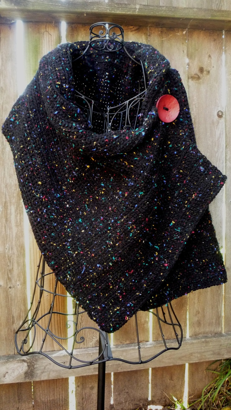 Black crocheted wrap with red button - link to pattern for sale.....http://www.etsy.com/listing/102810005/pattern-for-buttoned-crocheted-wrap?ref=related-0