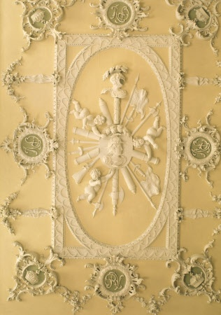 The 18th century ceiling of the North Hall at Claydon House showing a delicate pattern created from carved wood rather than plasterwork