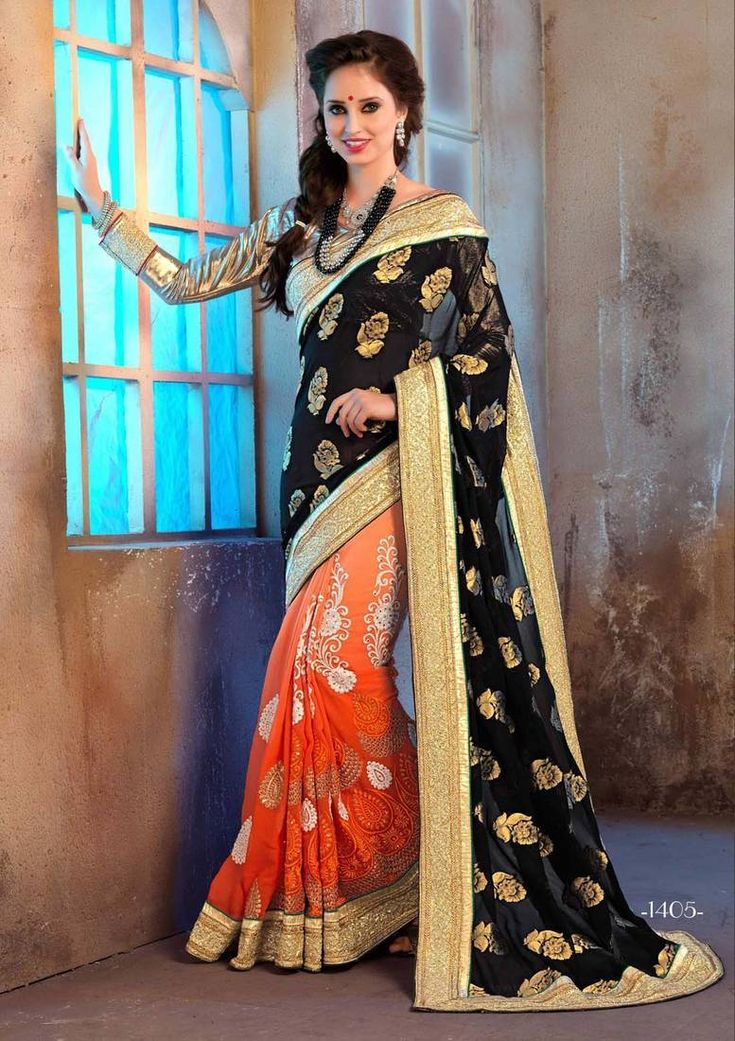 Multicolour embroidered art silk saree with blouse
