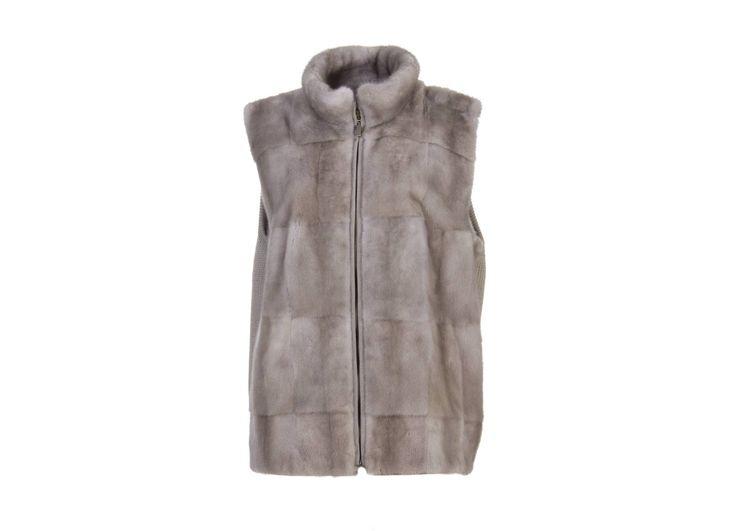Gilet cashmere grigio  visone grigio lunghezza cm. 67