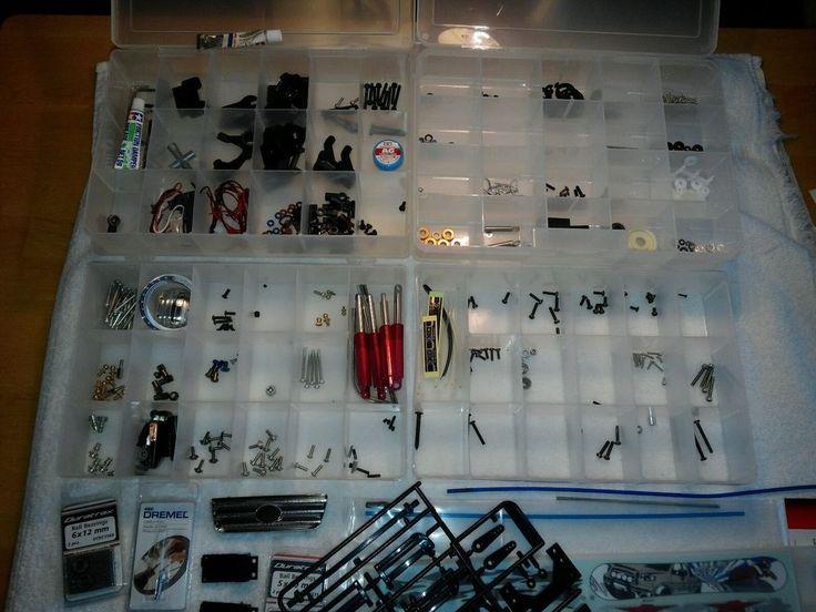 RC CAR PARTS ~ LOT ~ Includes Plastic Cases ~ TRAXXAS ~ RADIO CONTROL CAR PARTS