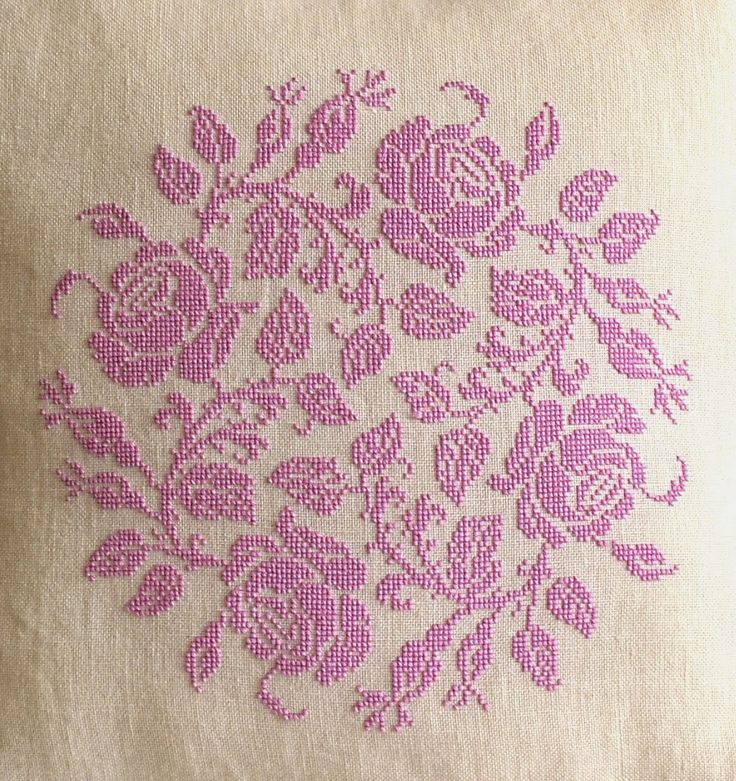 Sew French : Garland of Roses Pillow ~ French cross stitch, pink, shabby chic cross stitch ~ pretty cross stitch