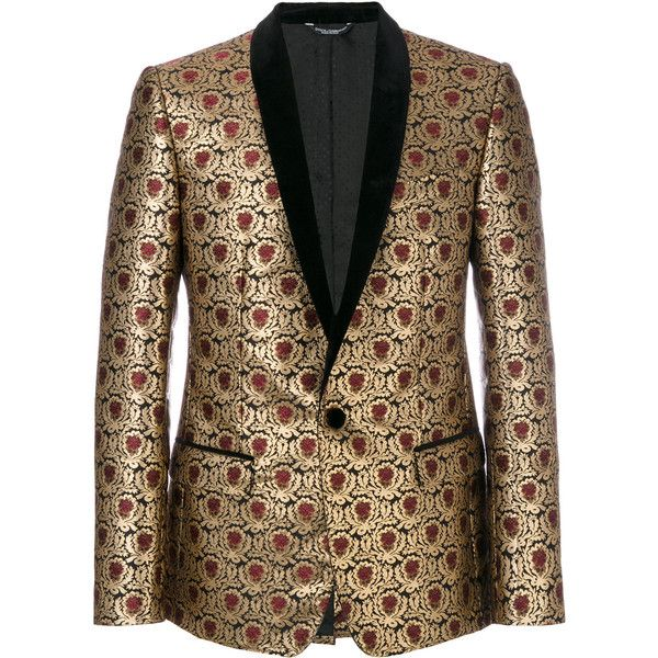 Dolce & Gabbana metallic jacquard dinner jacket ($2,865) ❤ liked on Polyvore featuring men's fashion, men's clothing, grey, mens grey jacket, mens gray leather jacket and mens metallic gold jacket