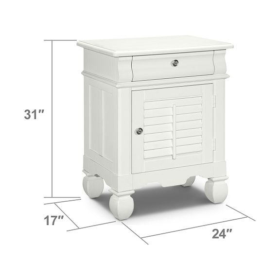 Bedroom Furniture Plantation Cove White Door Nightstand