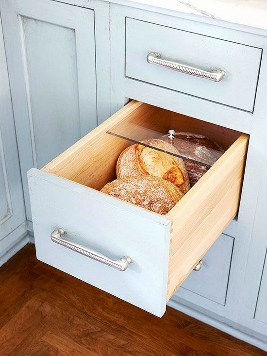 Get bread off the counter and within easy reach with a special drawer. The acrylic lid keeps bread fresh and easy to find! http://www.bhg.com/kitchen/storage/organization/storage-packed-cabinets-drawers/?socsrc=bhgpin010315breadloafdrawer&page=9