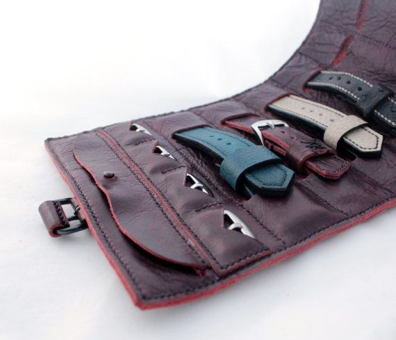 Watch strap roll Leather Watch Roll Watch Pouch by AngerRefuge