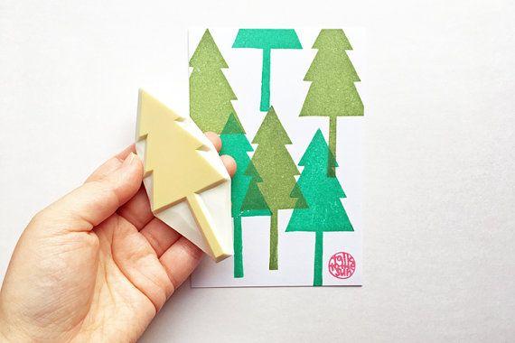 tree rubber stamp. cedar tree stamp. woodland hand by talktothesun