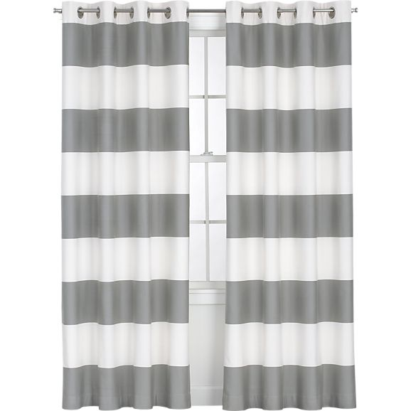 Alston Ivory/Grey Curtain Panel in Curtains   Crate and Barrel - maybe for Livi's room?