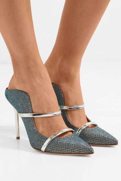 Heel measures approximately 100mm/ 4 inches Navy and silver mesh, silver  leather Slip on