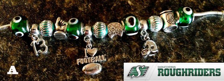 Saskatchewan Roughrider football themed European style charm bracelet.