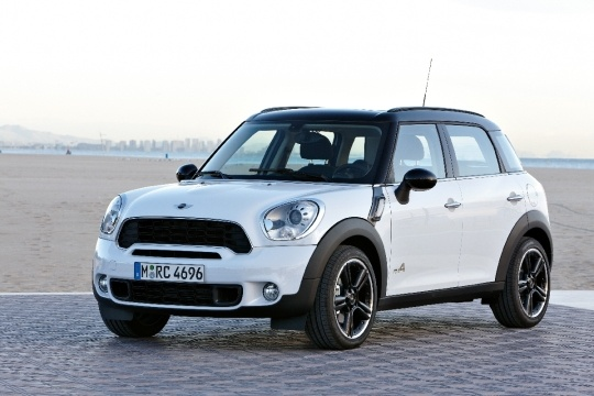 mini cooper countryman.  white with black rims = nice. Dream car. With sign writing.