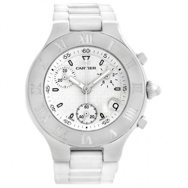 Pre-owned Cartier Must 21 W10184U2 Chronoscaph White Rubber Unisex... ($2,350) ❤ liked on Polyvore featuring jewelry, watches, quartz movement watches, roman numeral watches, white crown, cartier watches and engraved watches