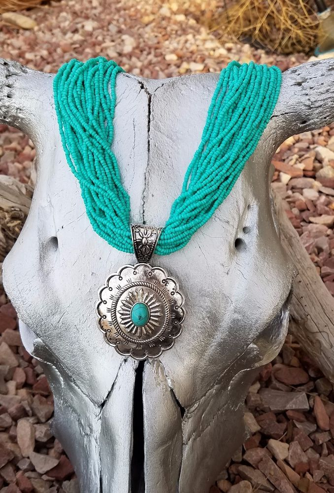 COWGIRL Bling Southwest Turquoise CONCHO Silver Western Gypsy NECKLACE set #Unbranded