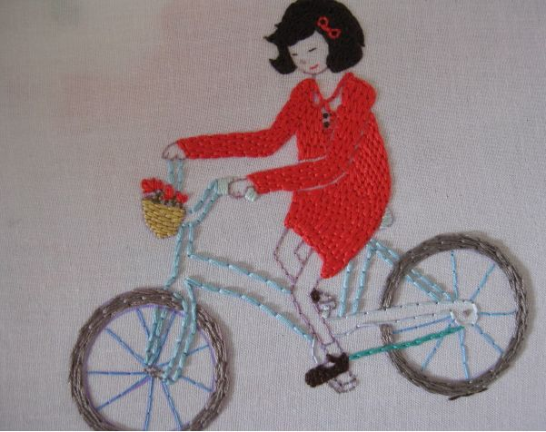 Girl on Bicycle quilt by Aneela Hoey
