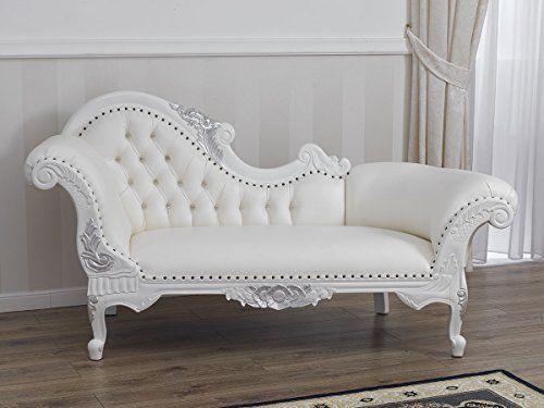 Divano Dormeuse Chaise Longue Stile Barocco Moderno Bianco Laccato Particolari Foglia Argento Ecopelle Bianca Living Room Diy Living Room Design Diy Furniture
