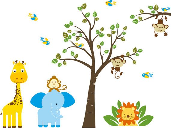 ON SALE Childrens Removable Vinyl Wall Decal Tree And Branch With Elephant Giraffe Monkey Lion