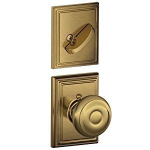 Schlage Lock Company F59GEO609ADD Georgian Interior Pack Knob Set with Single Cylinder Deadbolt, Antique Brass - - Amazon.com