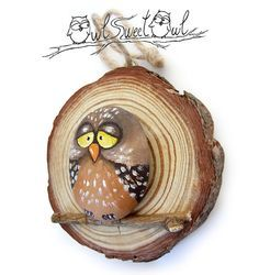 Unique Illustrated Owl on a Wooden Trunk Section by owlsweetowl