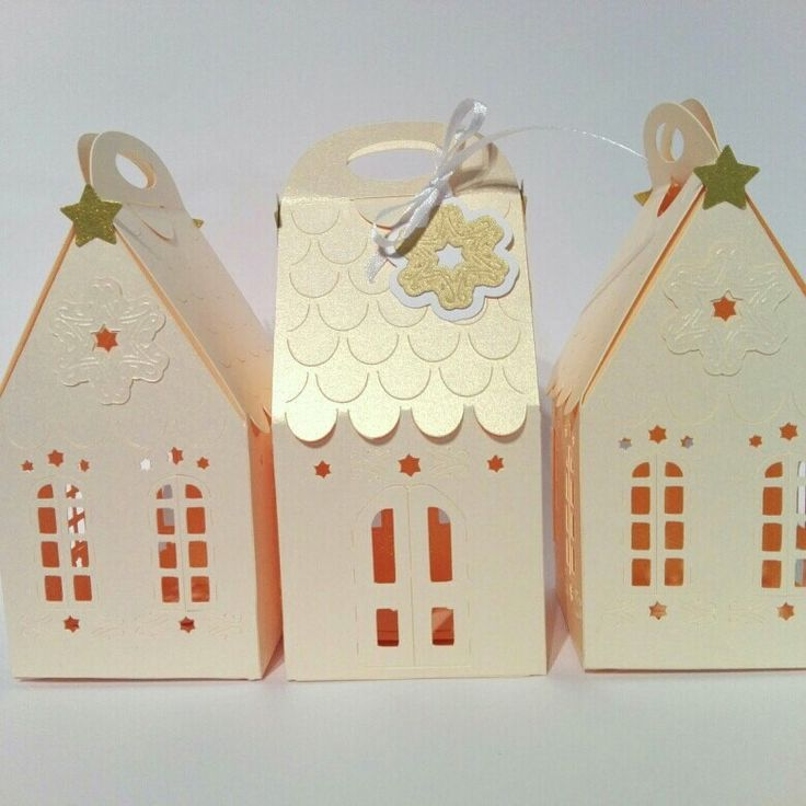 House boxes dressed for winter - custom designed take of my house shape gift boxes