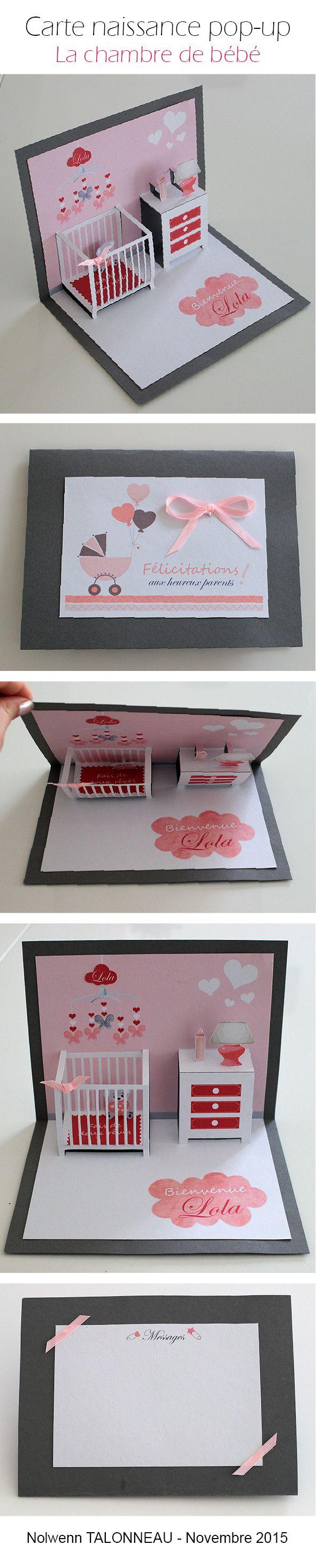 Carte pop up chambre de bébé fille. Chambre dessinée sur illustrator, imprimée sur papier Canson blanc et découpée au scalpel pour plus de précision. Idéale comme carte de voeux pour une naissance.