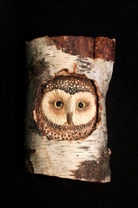 Owl wood carving