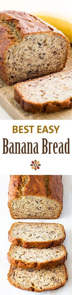 Easiest banana bread ever! No need for a mixer! Delicious and easy, classic banana bread recipe. Most popular recipe on SimplyRecipes.com