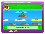 FREE Vocabulary Lesson~  The fun factor of this free vocabulary lesson will have your kids asking for more practice with synonyms and antonyms. Children help a frog cross a river by hopping on synonym or antonym logs. Synonyms and antonyms of words like secluded, aid and serene are practiced. Fun music, funny character animations, and engaging interaction make this lesson a splash for 3-5th!