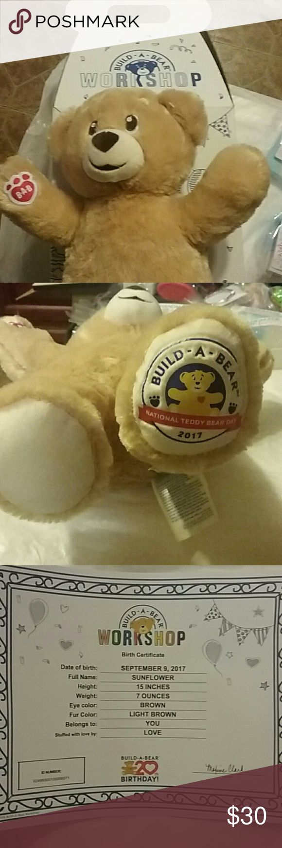 NEW 2017 BUILD A BEAR  WORKSHOP 20th BIRTHDAY!Brand new!2017 Build a bear national teddy bear day! I bought a extra for a child in family.  Didn't dress so they could.  But didn't want it. Never used, birth certificate & box included! BUILD-A-BEAR Other